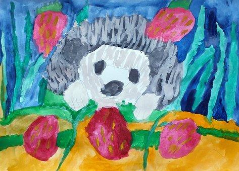 Hedgehog, Painting, Art, Drawing, Sketch, Watercolor