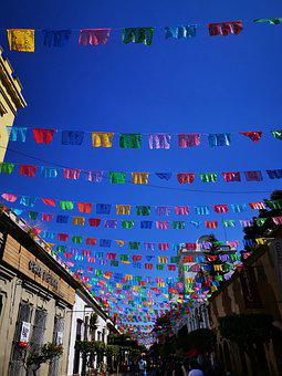Mexican Buntings, Festival, Street, Mexico, Fiesta