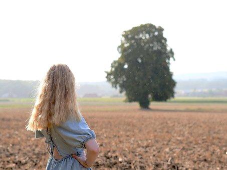 Girl, Field, Outdoors, Woman, Blond, Back, Meadow