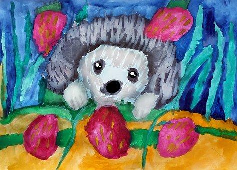 Hedgehog, Painting, Art, Creation, Strawberry
