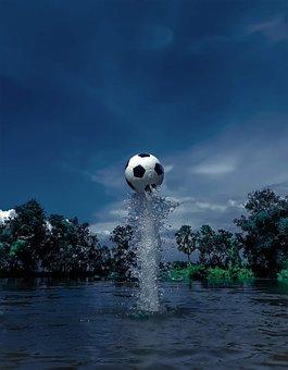 Soccer Ball, Water Splash, Football, Water, Splash