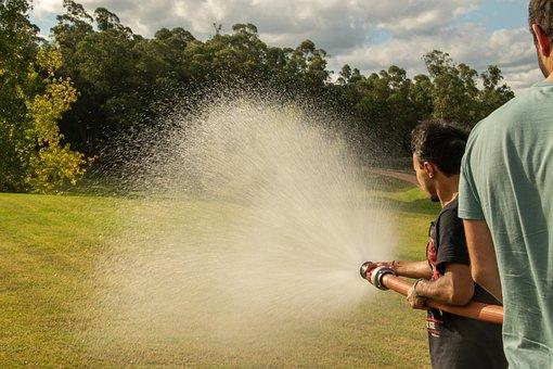 Hose, Water, Splash, Spray, Lawn, Field, Watering
