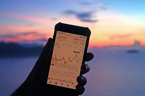 Stocks, Chart, Mobile Phone, Amazon Stock, Bitcoin