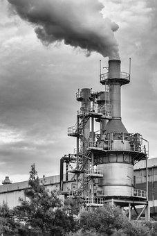 Factory, Chimney, Smoke, Black And White, Huelva