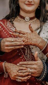 Wedding, Couple, Hands, Wedding Rings, Mehndi