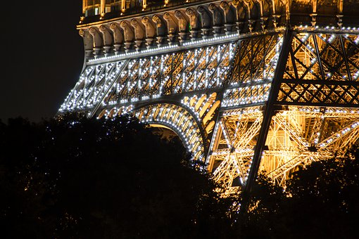Tower, Eiffel, Structure, Landmark, Symbol, Lights