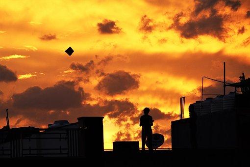 Evening, Kite Flying, Dusk, Nature, Kite, Sky, Sunset