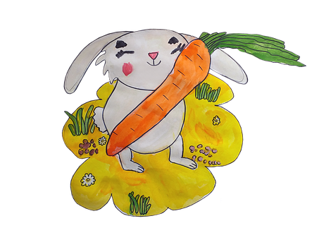 Rabbit, Carrot, Drawing, Animal, Food, Smile, Happy