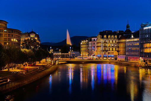 Geneva, Switzerland, City, Lake, Night, Lights