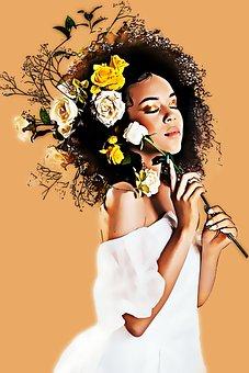 Woman, Flowers, Bouquet, Curly Hair, Hair, Face, Beauty