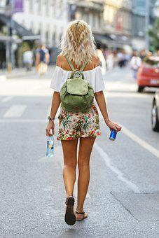 Woman, Walking, City, City Life, Street, Fashion