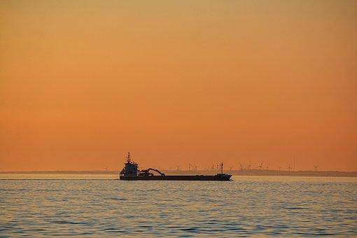 Sunset, Ship, Sea, Oil Tanker, Water, Nautical, Horizon