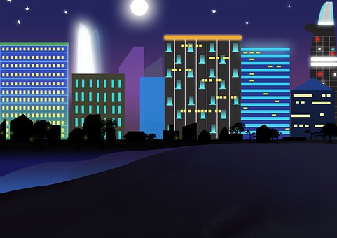 City, Light, Night Sea
