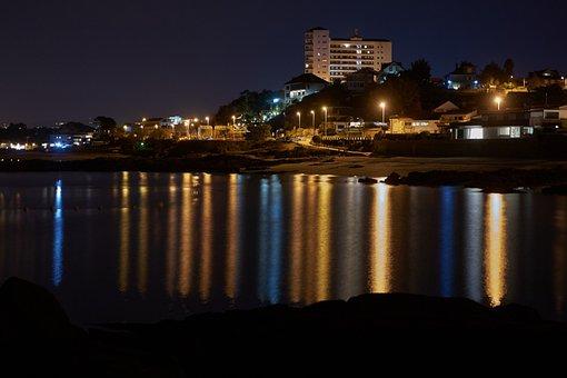 City, Sea, Night, Vigo, Bao, Galicia, Beach, Coast