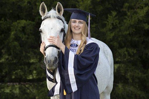 Graduation, Horse, Student, Friendship, Smile, Girl