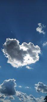 Sky, Clouds, Heart, Blue Sky, Sunlight, Atmosphere