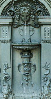 Sculpture, Face, Fountain, Water, Metal, Iron, Old