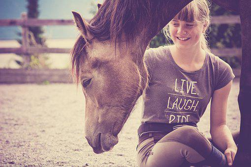 Horse, Foal, Girl, Happy, Yearling, Pony, Animal