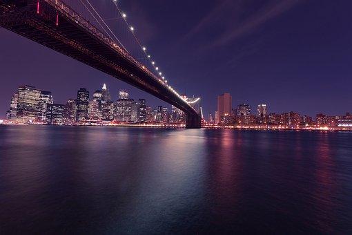 Bridge, River, Buildings, Night, Water, City, Skyline