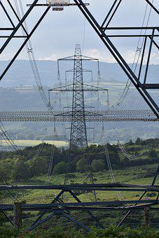 Field, Electric Tower, Structure, Meadow, Power
