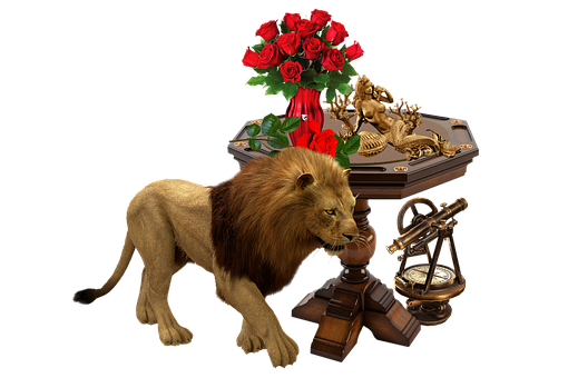 Lion, Collage, Antique Furniture, Antique Decor