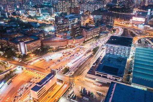 Hong Kong, Kowloon, City, Evening, Night, Street
