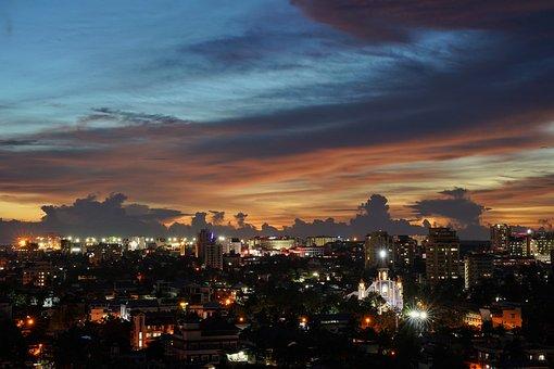 City, City Lights, Night Lights, Evening, Night, Sunset