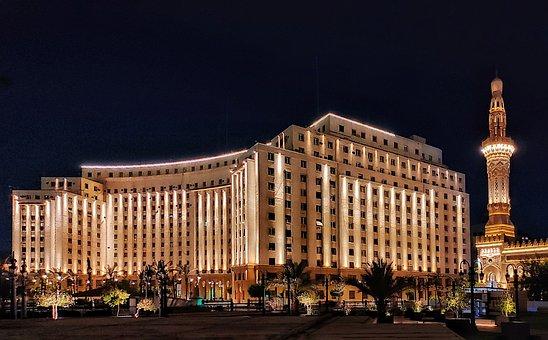 Mogamma, Building, Night, Cairo, Egypt, Lights, Facade