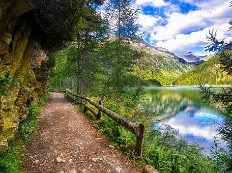 Mountain Path, Lake, Forest, Path, Mountain, Panorama
