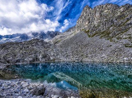 Lake, Rocks, Mountain, Nature, Scenic, Clouds, Sky