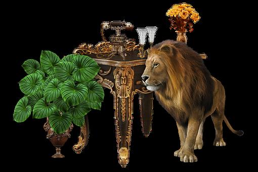 Lion, Antique, Vintage, Cutout