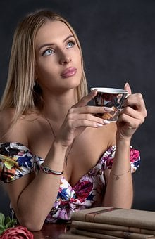 Woman, Coffee Cup, Thinking, Portrait, Caucasian