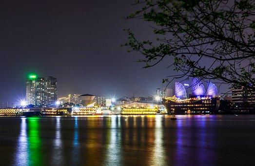City, Night Lights, Skyline, Evening, Night, River