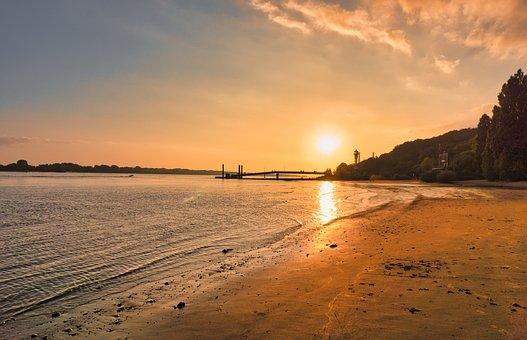 Sunset, Beach, Sea, Hamburg, Elbe, Elbe Beach, Summer