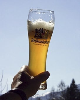 Wheat Beer, Glass, Back Light, Hand, Alcohol, Drinking