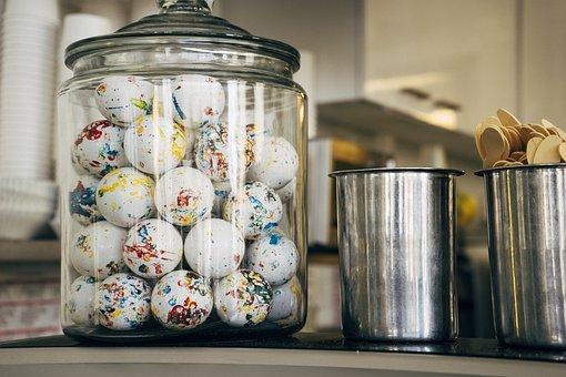 Candy, Jar, Glass, Eggs, Decoration, Kitchen, Food