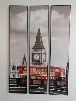 Picture, Trolley, Clock, Tower, England, Red, Tour