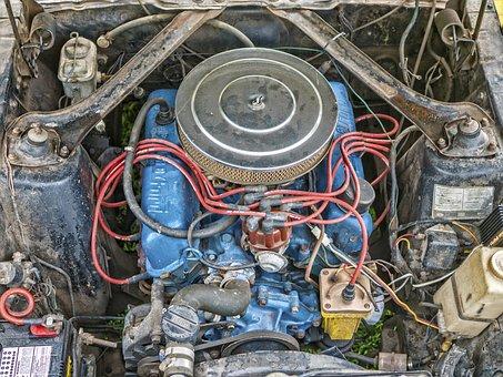 Mustang, Engine, Block, Vintage, Car, Metal, Vehicle