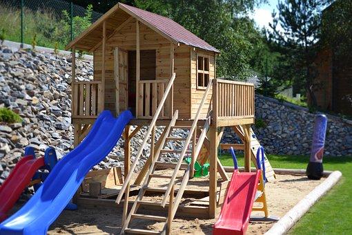 Playground, Children's Lodge, Holiday, Garden, Fun