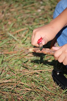 Whittling, Scouts, Summer, Outdoors, Cutting, Knife