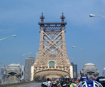 New York City, Urban, Bridge, People, Bicyclists, Sky