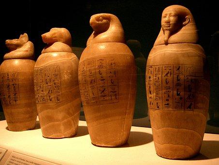 Canopic Jars, Egypt, Egyptian, Pharaoh, Mummy, Embalm