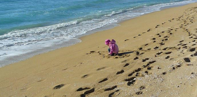 Sand Beach, Child, Beach, Holiday, Sea, Play, Sand