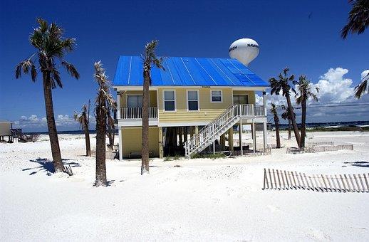 Pensacola, Florida, Sky, House, Home, Palms, Palm Trees