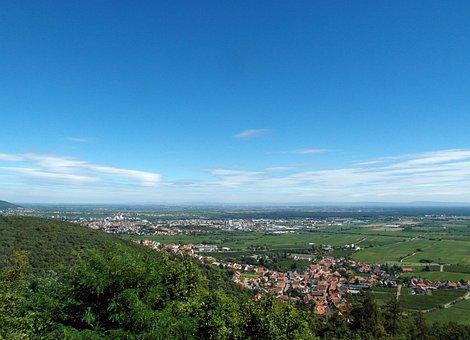 Palatinate, Hiking, Rhine Valley, View, Flat, Wide, Sky