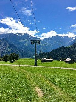 Mountain Railway, Glarus, Meadow, Switzerland, Summer