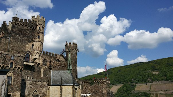 Castle, Rhine Stone, Wall, Towers, Middle Ages