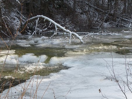 Creek, Drifting Ice, Ice Covered, Water, Ice, Cold