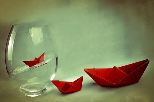 Ship, Away, Boat, Vase, Water, Red, Paper Boat, Travel