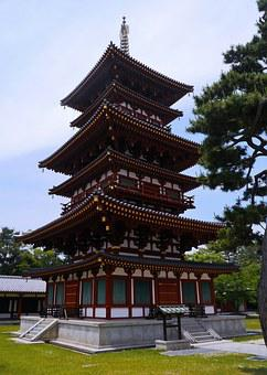 Nara, Yakushiji, West Tower, Red, Gold, White, Green